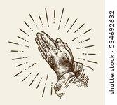 hand drawn praying hands.... | Shutterstock .eps vector #534692632