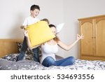 a young mother and childs on... | Shutterstock . vector #534693556
