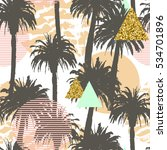 tropical palm trees seamless... | Shutterstock . vector #534701896