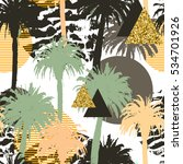 tropical palm trees seamless... | Shutterstock . vector #534701926