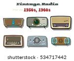 vector retro vintage radio set... | Shutterstock .eps vector #534717442