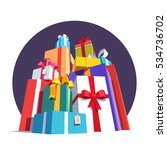 big pile of colorful wrapped... | Shutterstock .eps vector #534736702