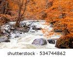 river deep in autumn mountain... | Shutterstock . vector #534744862