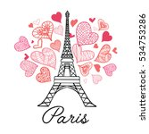 vector eifel tower paris... | Shutterstock .eps vector #534753286