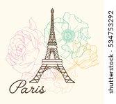 vector eifel tower paris in...   Shutterstock .eps vector #534753292