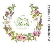 vector vertical wild flowers... | Shutterstock .eps vector #534755518