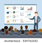 flat speaker and audience... | Shutterstock .eps vector #534761032