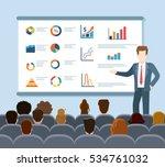 flat speaker and audience... | Shutterstock .eps vector #534761032