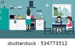 women are making breakfast for... | Shutterstock .eps vector #534773512