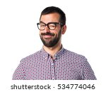 man with glasses winking | Shutterstock . vector #534774046