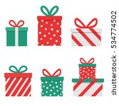 red christmas presents on... | Shutterstock .eps vector #534774502