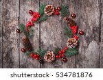 christmas wreath of fir... | Shutterstock . vector #534781876