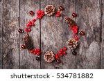 christmas wreath of cones  red...   Shutterstock . vector #534781882