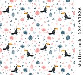 seamless pattern with toucan...   Shutterstock .eps vector #534791836