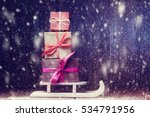 pile of gift boxes on santa's... | Shutterstock . vector #534791956