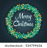 christmas wreath with colourful ... | Shutterstock .eps vector #534799636