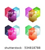 set of vector shiny blank boxes ... | Shutterstock .eps vector #534818788