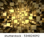 Gold Squares Extruded Abstract...
