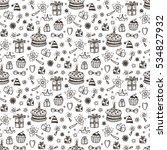 birthday seamless pattern. hand ... | Shutterstock .eps vector #534827932