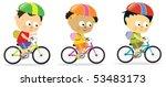 multi ethnic kids biking | Shutterstock .eps vector #53483173