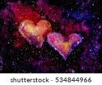 Watercolor Bright Pink Hearts...