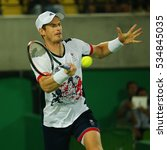 Small photo of RIO DE JANEIRO, BRAZIL - AUGUST 14, 2016: Olympic champion Andy Murray of Great Britain in action during men's singles final of the Rio 2016 Olympic Games at the Olympic Tennis Centre