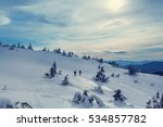 hikers in the winter mountains | Shutterstock . vector #534857782
