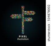 signpost   pixel icon. vector... | Shutterstock .eps vector #534878002