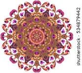 boho style flower mandala.... | Shutterstock .eps vector #534879442