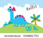 cute dinosaur greeting vector... | Shutterstock .eps vector #534881752