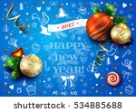 christmas blue vector card with ...