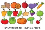 different types of fruits and... | Shutterstock .eps vector #534887896