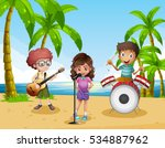 kids playing in band on the... | Shutterstock .eps vector #534887962