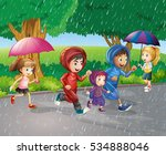 children running in the rain... | Shutterstock .eps vector #534888046