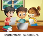 kids doing homework with... | Shutterstock .eps vector #534888076