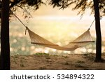 Hammock On The Beach At Sunset...