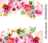 greeting card with flowers.... | Shutterstock . vector #534902692