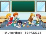 many children reading and... | Shutterstock .eps vector #534923116