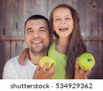 happy father with daughter... | Shutterstock . vector #534929362