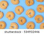 danish butter cookies on blue... | Shutterstock . vector #534932446