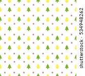 seamless christmas tree snowman ... | Shutterstock .eps vector #534948262