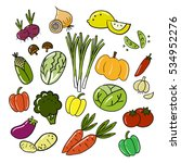 vegetables collection doodle... | Shutterstock .eps vector #534952276