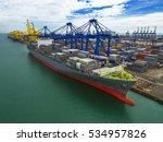 Aerial View Of Cargo Ship ...