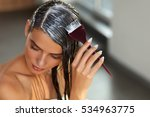 hair masking. young woman with... | Shutterstock . vector #534963775