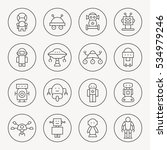 robots thin line icon set | Shutterstock .eps vector #534979246
