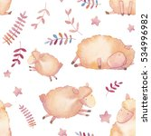 watercolor lambs seamless... | Shutterstock . vector #534996982