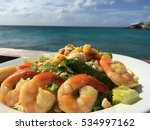 tropical salad with shrimps and ...   Shutterstock . vector #534997162
