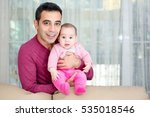 father and baby at home... | Shutterstock . vector #535018546