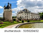 Medieval Chateau de Chenonceau (1514 - 1522) spanning River Cher in Loire Valley in France.  - stock photo