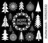 christmas set. trees ... | Shutterstock .eps vector #535023532
